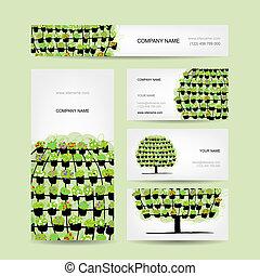 set, potten, boompje, gemaakt, groene, floral, kaarten