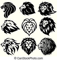 set, premie, collection., illustratie, leeuw, vector, ontwerp, logo
