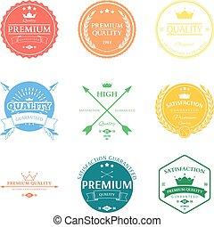 set, premie, etiketten, vector, kwaliteit, kentekens