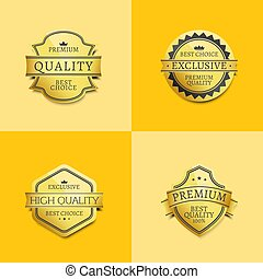 set, premie, goud, etiketten, kwaliteit, best, borg staan voor