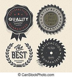 set, premie, ouderwetse , etiketten, kwaliteit, borg staan voor
