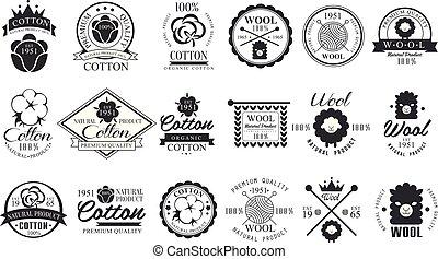 set, premio, elegante, vendemmia, materials., quality., product., naturale, labels., mano, stoffa, emblemi, vettore, disegno, logotipo, monocromatico, lana, lettering., cotone