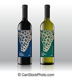 set, premio, pulito, minimo, etichette, moderno, vino, bottles., typography., realistico, vettore, disegno, retro, uva, elegante, disegnato, bianco, mano, qualità, rosso, mazzo