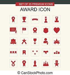 set, premio, rosso, icone