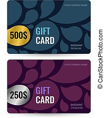 Set Premium and standard gift card. Gold and silver voucher with
