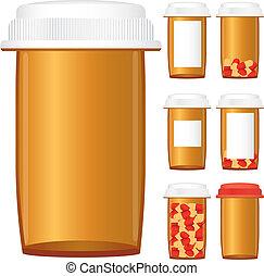 set, prescrizione, isolato, illustrazione, fondo, vettore, bottiglie medicina, bianco
