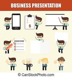 set, presentazione, uomo affari