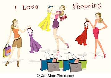 Set Pretty shopping girls, vector illustration