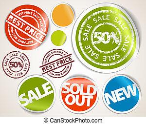 set, prezzo, etichette, -, vendita, adesivi, meglio