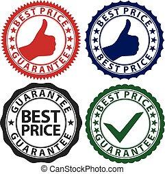 set, prijs, illustratie, etiket, vector, best, borg staan voor