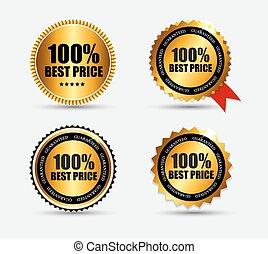 set, %, prijs, illustratie, etiket, vector, honderd, best
