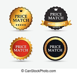 set, prijs, illustratie, etiket, vector, lucifer