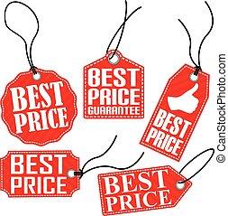 set, prijs label, illustratie, vector, rood, best