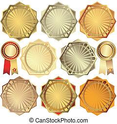 set, prijzen, zilver, brons, goud