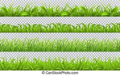 set, primavera, pattern., seamless, erba, realistico, vettore, verde, 3d