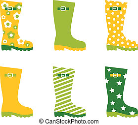 set, primavera, wellington, pioggia, isolato, stivali, bianco