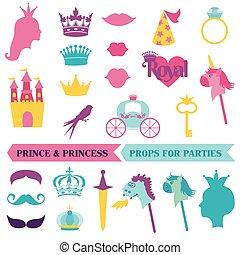 set, priness, -, maskers, kroon, vector, mustaches, photobooth, rekwisieten, feestje, prins