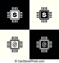 Set Processor chip with dollar icons on black and white background. CPU and a dollar sign. Line, outline and linear icon. Vector Illustration