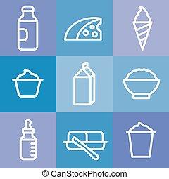 set, prodotti, latte, icona