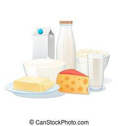 set, producten, melk