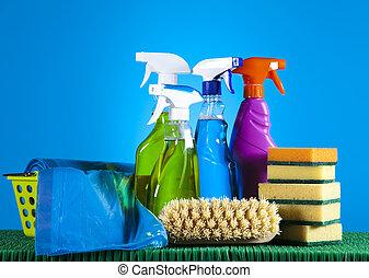 set, producten, poetsen