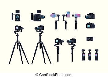 set professional camera equipment motorized gimbal stabilizer tripod metal construction take a photo movie or video concept isolated collection horizontal flat