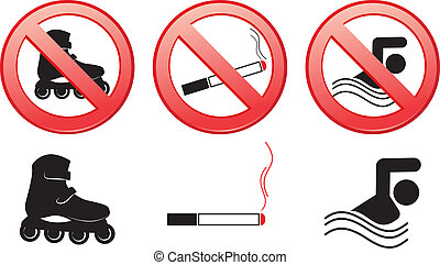 set prohibitive signs isolated