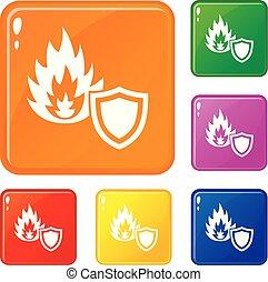 set, protezione, icone, fuoco, colorare, vettore