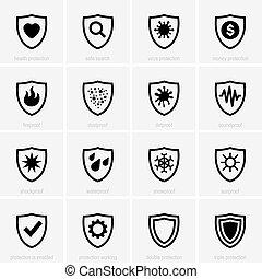 set, protezione, icone