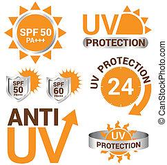 set, protezione, sole, uv, vettore, anti