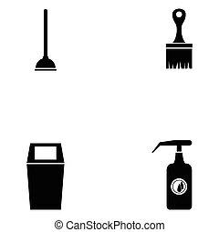 set, pulito, icona