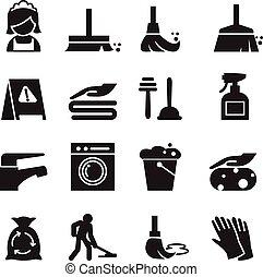 set, pulizia, icone