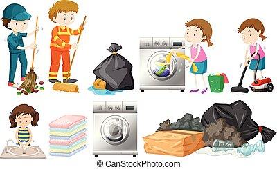 set, pulizia, persone