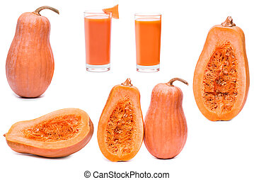 set pumpkin fresh glass of juice and half sliced squash isolated on a white background