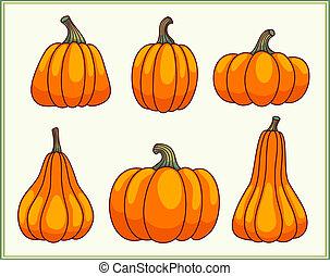 set, pumpkins.