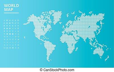 set, punteggiato, icone, mappa, vettore, mondo, navigazione