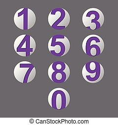 set purple number icon with shadow