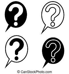 set question mark bubble icon vector, symbol sign ask, faq