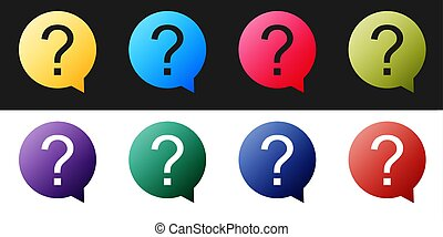 Set Question mark in circle icon isolated on black and white background. Hazard warning symbol. Help symbol. FAQ sign. Vector