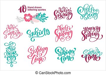 Set quotes Hello Spring time card template. Hand drawn lettering. Calligraphic element for your design. Vector illustration