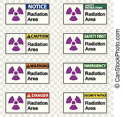Set Radiation Area Symbol Sign on transparent background