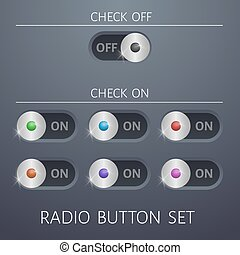 set radio buttons on and off different colors website design