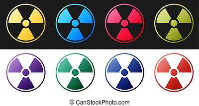 Set Radioactive icon isolated on black and white background. Radioactive toxic symbol. Radiation Hazard sign. Vector.