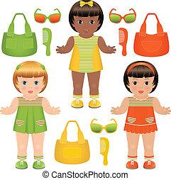 set, ragazze, accessori, bambole