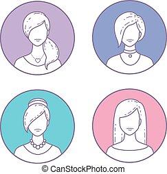 set, ragazze, avatars, icone