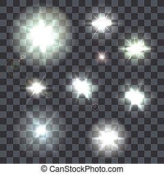 set, raggi, chiarori obiettivo, vettore, fondo, bagliori, trasparente