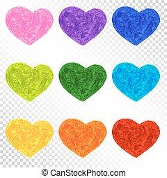 Set Rainbow Colorful Hearts