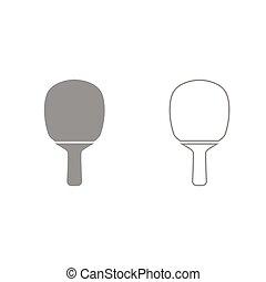 set, raket, tennis, grijze , tafel, pictogram