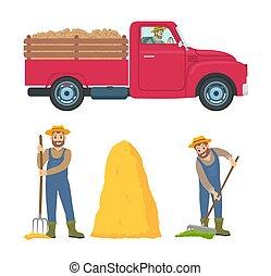 set, rastrello, illustrazione, vettore, agricoltura, uomo