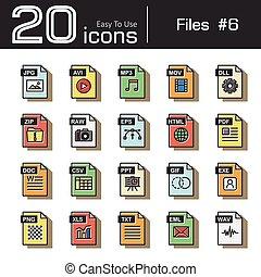 Set, rauwe,  avi,  ppt,  txt, stijl, ritssluiting,  ), ouderwetse,  dll,  Html,  Retro,  6,  wav,  csv, archief,  mov,  eml,  png, pictogram,  Exe,  Doc,  EPS,  (,  pdf,  xls,  mp3